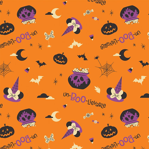 Disney Minnie Mouse Unboolievable Halloween Fabric - Orange