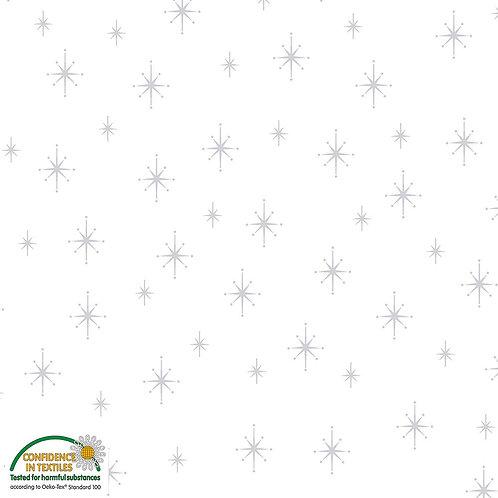 Stof Magic Christmas Fabric - Silver Stars White Metallic