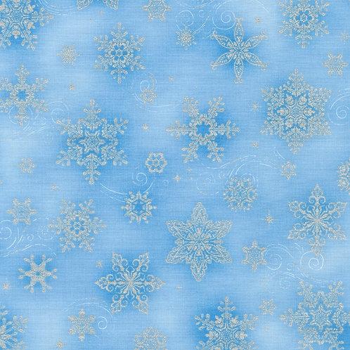 Holiday Flourish 14 Snowflakes Sky with metallic Fabric