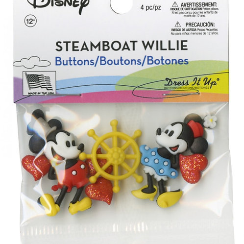 Disney Steamboat Willie Button Embellishments