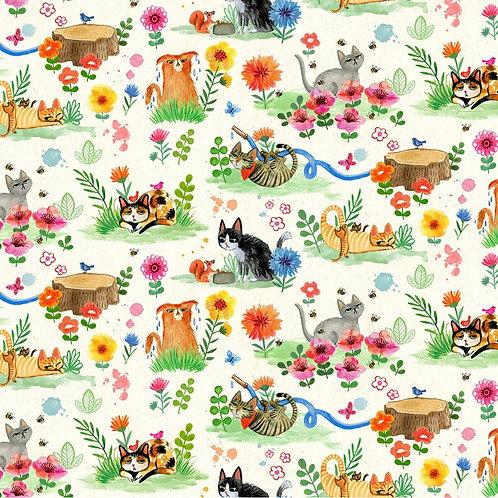Cream Cat Garden Fabric
