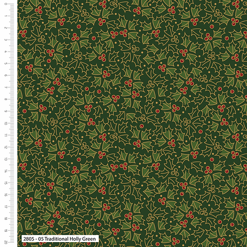 Craft Cotton Metallic Holly Green Christmas Fabric