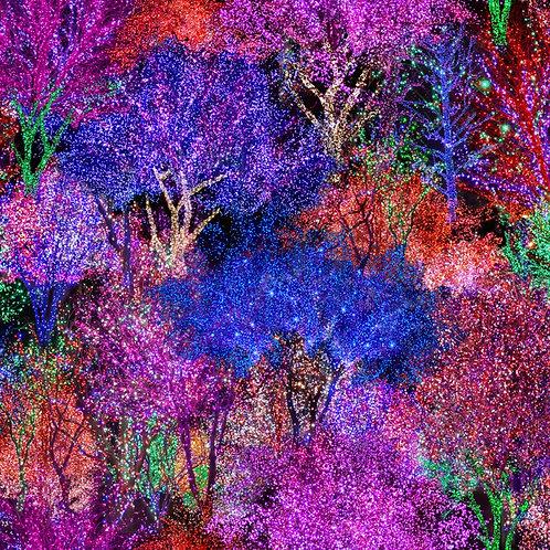 Hoffman Gemstone Lighted Trees Digitally Printed