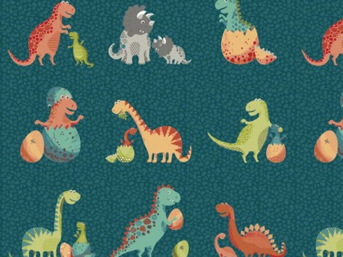 LP Makower Teal Dinosaur Fabric
