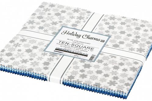 Robert Kaufman Holiday Charms Blue Layer Cake with Metallic