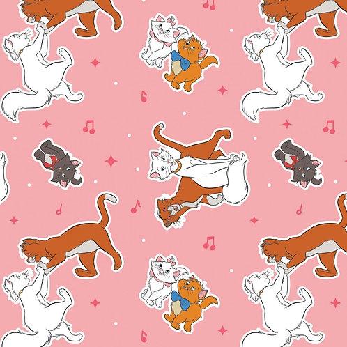 Aristocats Toss Pink Fabric