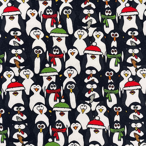 Christmas Penguin Crowd Fabric
