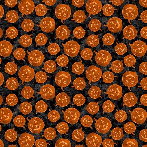 Frightful Night Black Halloween Pumpkin Toss Fabric