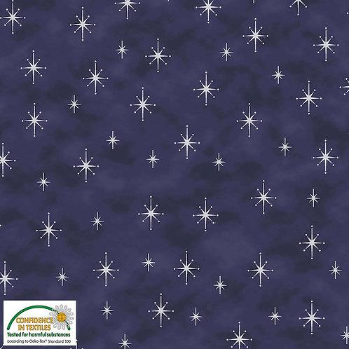 Stof Magic Christmas Fabric - Silver Stars Blue Metallic