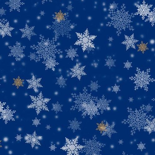 Snowflakes Royal Fabric