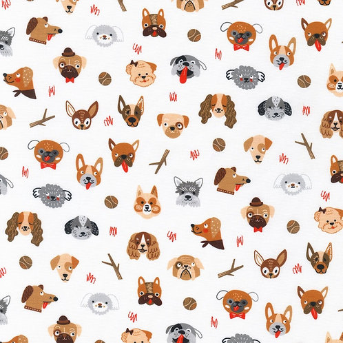 Whiskers and Tails Dog Fabric - White