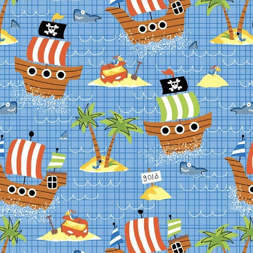Ship Ahoy Pirate Fabric