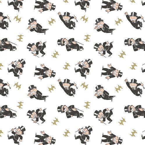 White Mr. Monopoly Fabric