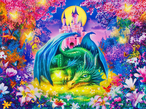 Wild Dragon and Castle Digitally Printed Panel 36in