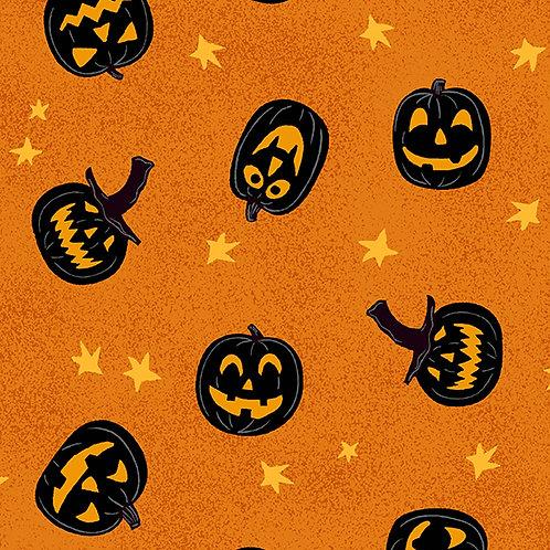Midnight Haunt Jack-O-Lantern Fabric - Orange