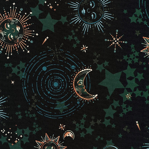 Moonlight Emerald Moon Fabric w/Glitter Metallic