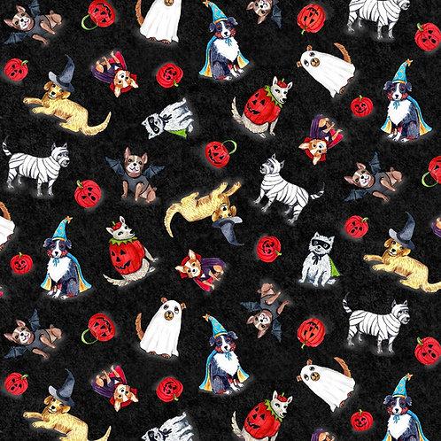 Black Spooky Poochy Halloween Fabric