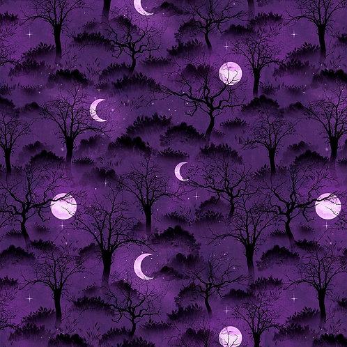 Frightful Night Purple Halloween Trees and Moons Fabric