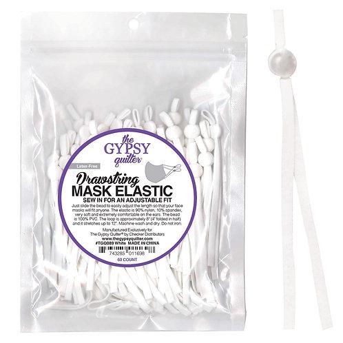 Drawstring Mask Elastic White 8in 60ct