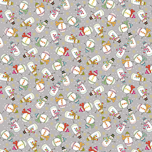 Grey Snowman Santas Express Fabric Makower 2386-S