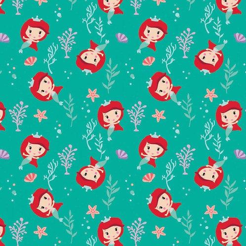 Disney Cute Ariel Toss Kawaii Floral Fabric