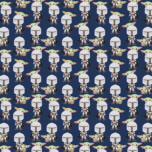 Star Wars Mandalorian Hello Friend Baby Yoda Fabric - Navy