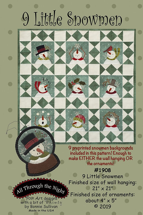9 Little Snowmen Pattern with Preprinted Panel