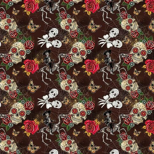 Day of the Dead Brown Fabric