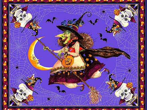 Purple Witch Halloween Fabric Panel