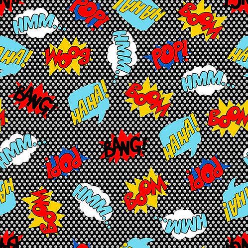 Blank Quilting Superhero Words Fabric