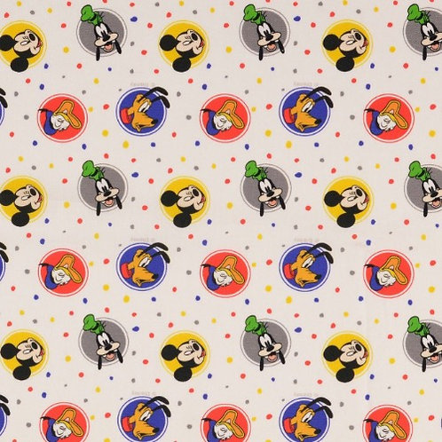 Disney Mickey Mouse and Friends Fabric - White