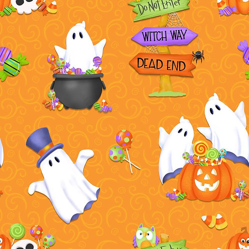 Glow Ghosts Ghosts Pumpkins and Candy Glow In The Dark Fabric