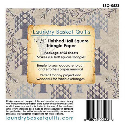 Laundry Basket Quilts Half Square Triangle Paper 1.5in. 0523