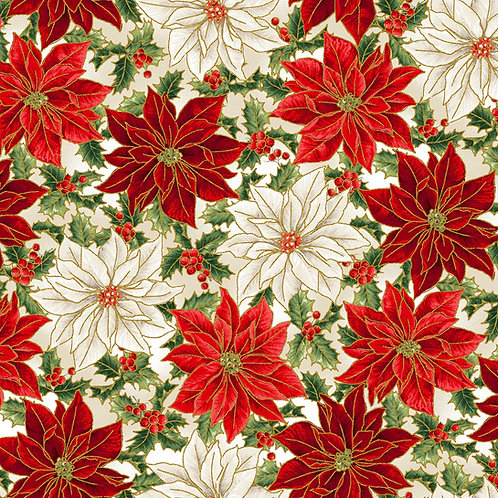 Red Poinsettia Christmas Fabric with Metallic