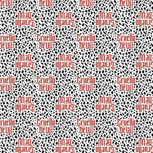 Disney Cruella De Vil Fashion Design Fabric - White