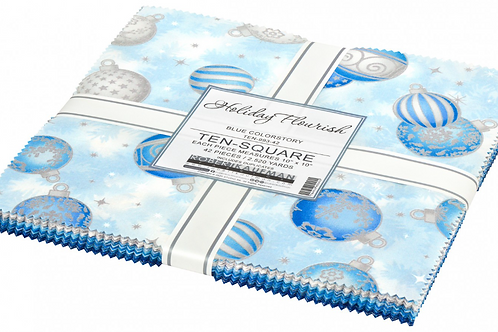 Robert Kaufman Holiday Flourish 14 Blue Layer Cake with Metallic