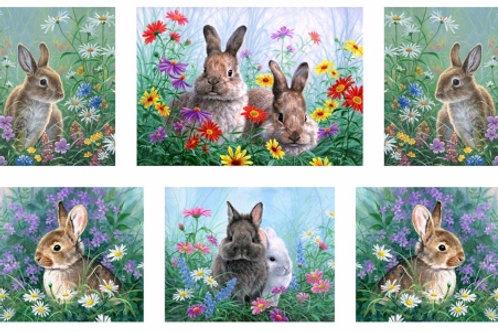 Cotton Tales Rabbit Fabric Panel