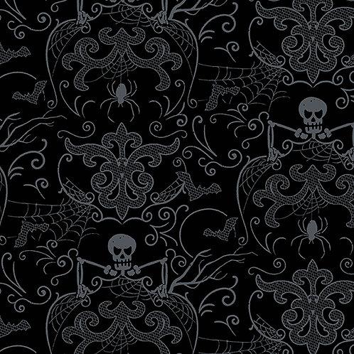 Midnight Haunt Spooky Damask Fabric - Night