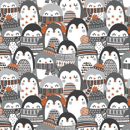 Penguin Paradise Cozy Penguin Stack Christmas Fabric