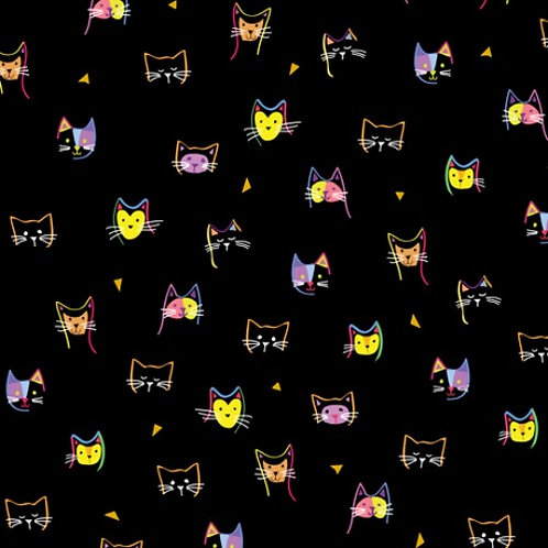 Kitty Cats Heads - Quilting Treasures Cat Fabric