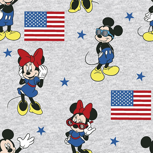Disney Mickey and Minnie Mouse American Flag Fabric