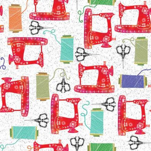 White Hobbies Sewing Machines Fabric