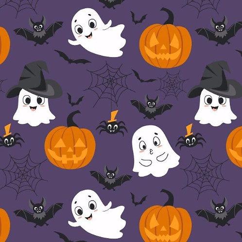 Halloween Ghost, Bat Pumpkin Poplin Fabric - Purple