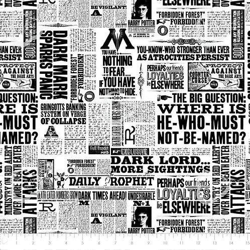 Harry Potter Newspaper Fabric - White
