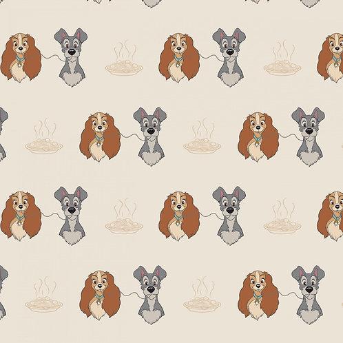 Disney Cream Disney Lady and The Tramp Perfect Spaghetti Fabric