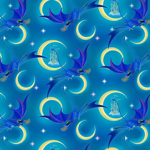 Cyan Moon Light Dragon Fabric