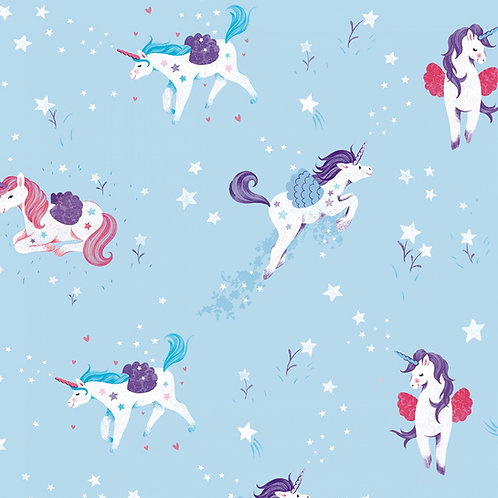 Light Aqua Unicorn Kisses Fabric