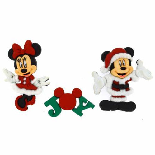 Disney Mickey and Minnie Mouse Christmas Button Embellishments