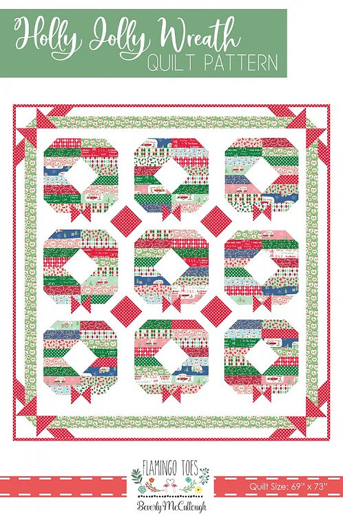 Flamingo Toes Holly Jolly Wreath Quilt Pattern