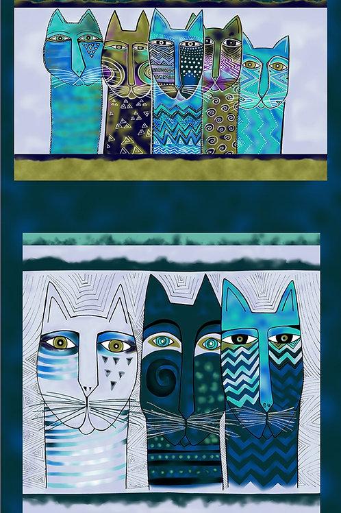 Teal Feline Frolic Pillow Fabric Panel - Metallic
